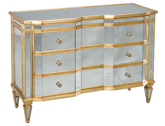 Chest of drawers with mirror and antique gold inlay